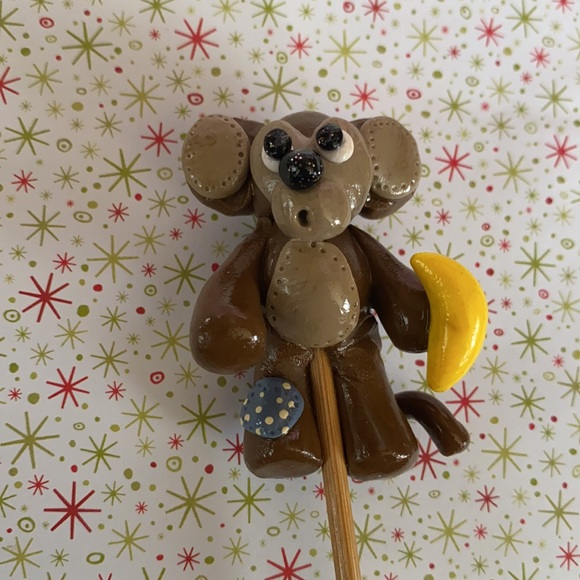 Handcrafted; Clay; Monkey; Plant Stick